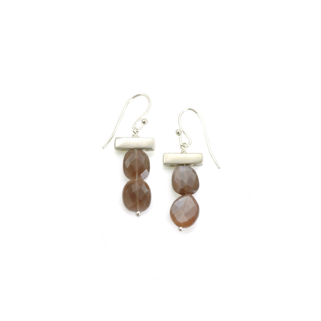 Philippa Roberts Chocolate Moonstone Bar Earrings 119-22se