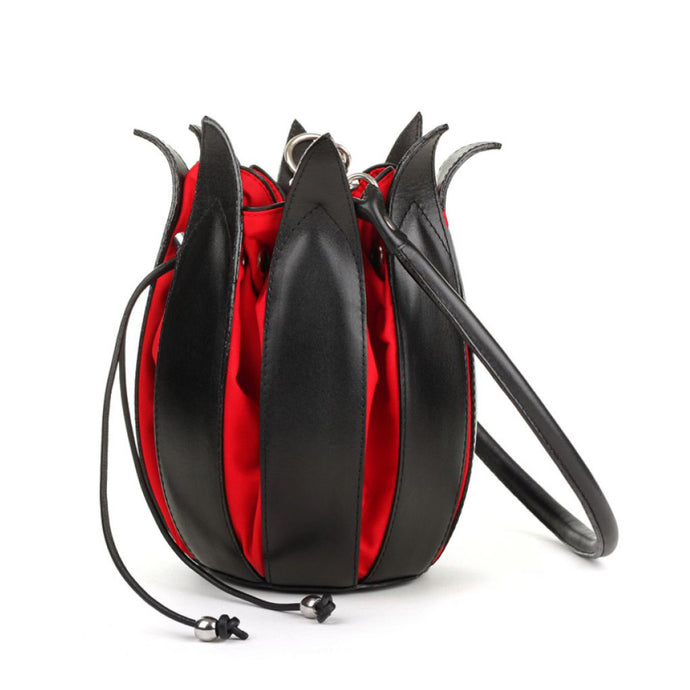 bylin Classic Leather Tulip Bag Black Red 070122