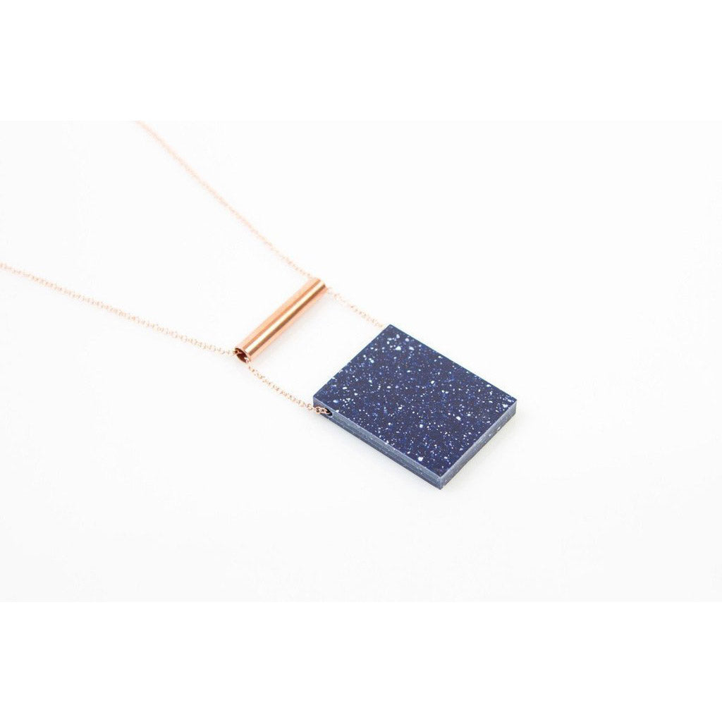 dconstruct Cobalt Corian Rectangle Necklace COR-N-REC-CT