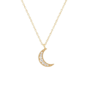 Kris Nations Crescent Moon Pave Necklace Gold N691-G