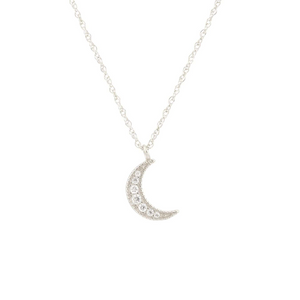 Kris Nations Crescent Moon Pave Necklace Silver N691-S