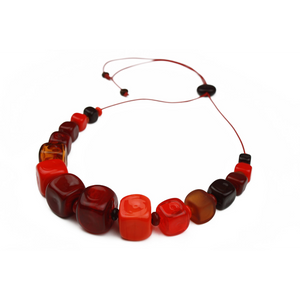 Alicia Niles Cube Mixed Red Necklace CU049RDMS