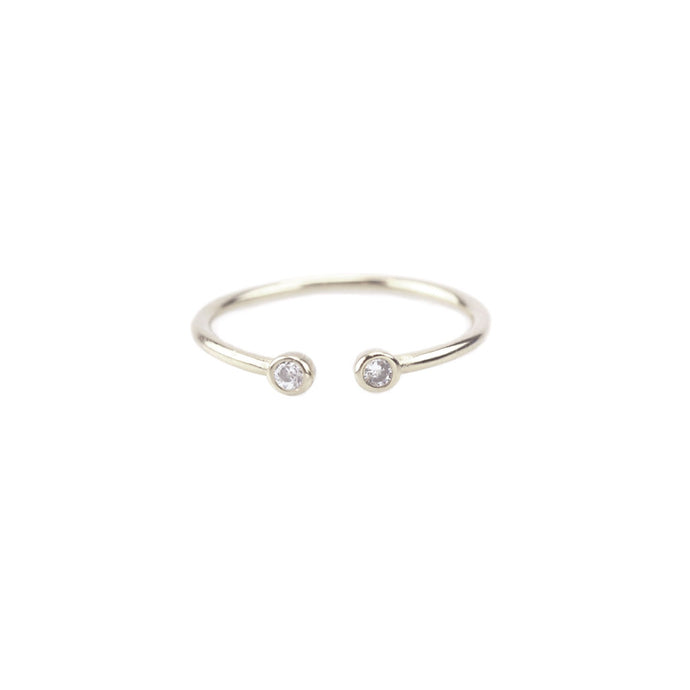 Kris Nations 2mm Double Stone Crystal Ring Silver R257-S-CRYS