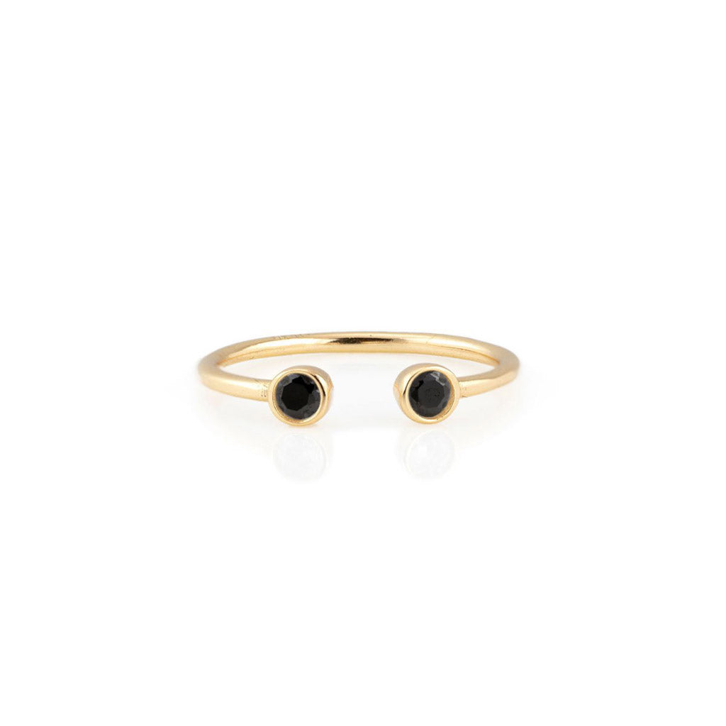 Kris Nations 3mm Double Stone Jet Ring Gold R264-G-JET