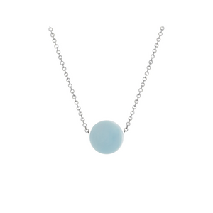 Pamela Lauz Element Aquamarine Slide Necklace Silver ELE-S026-16
