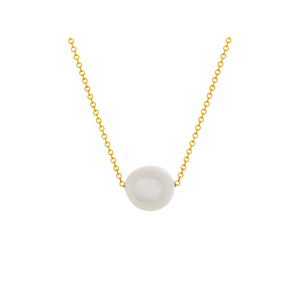 Pamela Lauz Element White Pearl Slide Necklace Silver ELE-GF032-16