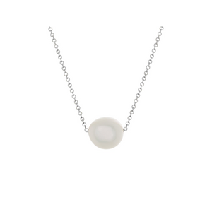 Pamela Lauz Element White Pearl Slide Necklace Silver ELE-S021-16