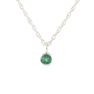 Kris Nations Emerald Charm Necklace Silver N778-S-EME