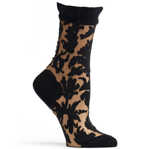 Ozone Floral Damask Black Socks W1030-19