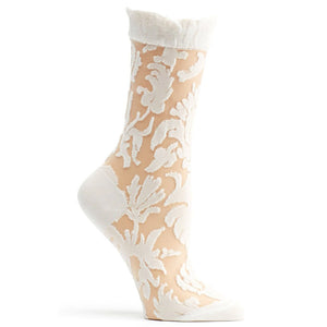 Ozone Floral Damask White Socks W1030-19