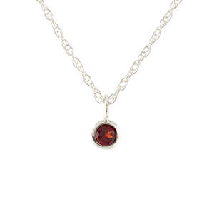 Kris Nations Garnet Charm Necklace Silver N778-S-GAR