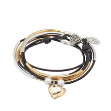 Lizzy James Girlfriend Gold/Silver 2 Hearts Wrap Bracelet