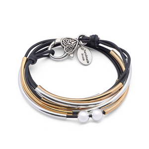 Lizzy James Girlfriend Gold/Silver Black Wrap Bracelet