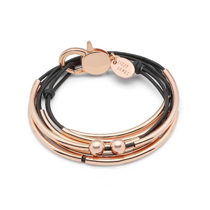 Lizzy James Girlfriend Rose Gold Black Wrap Bracelet