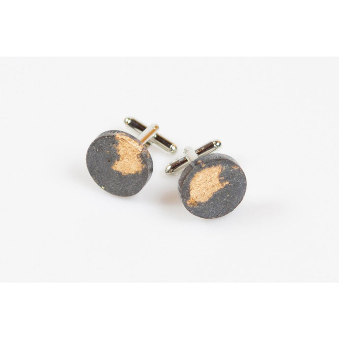 dconstruct Gold Leaf Fractured Concrete Cufflinks CON-CLI-FR-CIR-G
