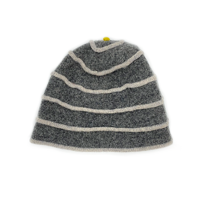 Katie Mawson Grey Striped Hat KMAHA5MIDGREY