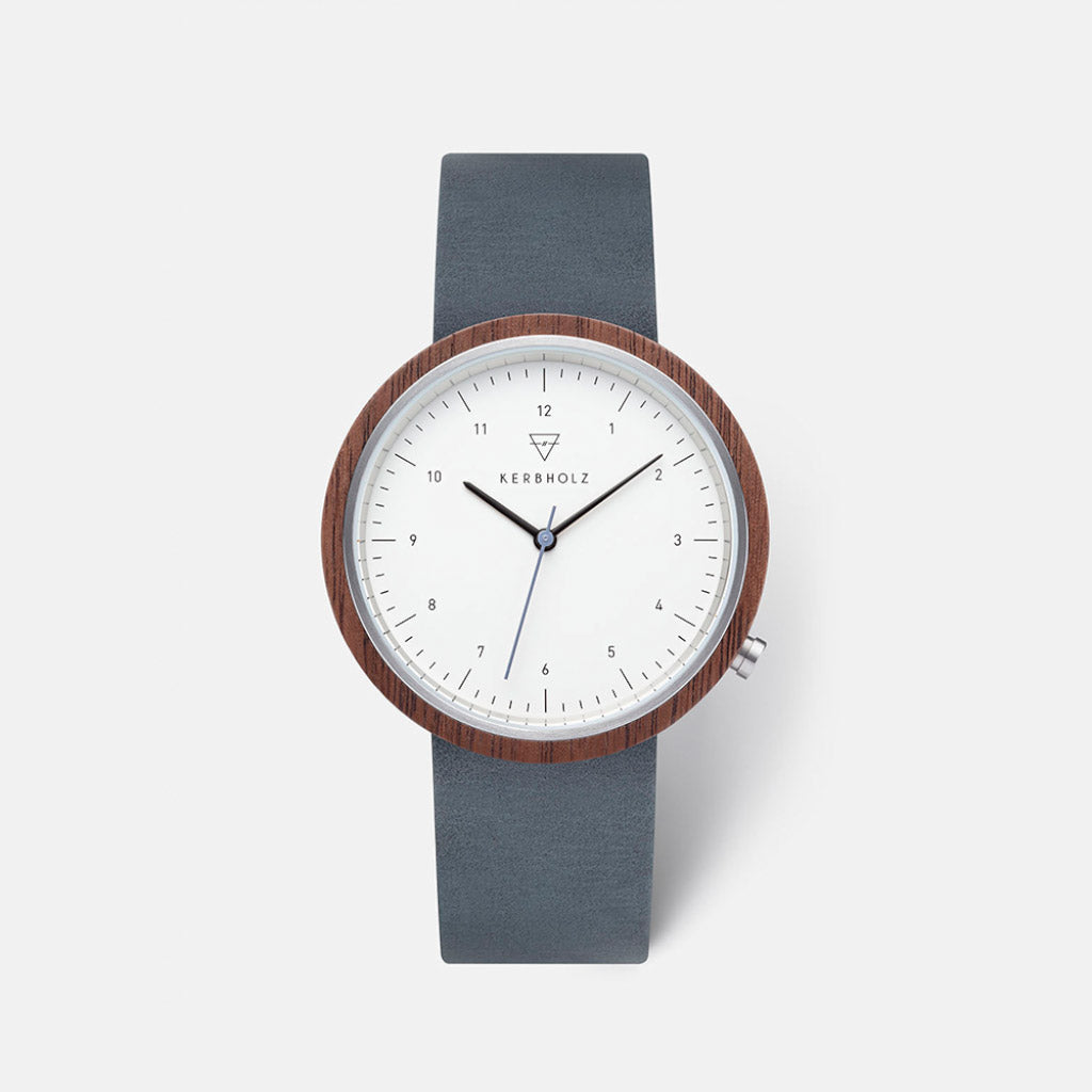 Kerbholz Heinrich Walnut Slate Blue Watch 4251240411361