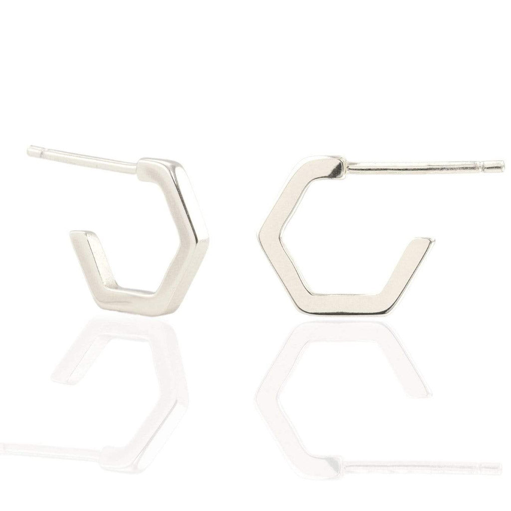 Kris Nations Hexagon Huggie Hoops Silver E655-S