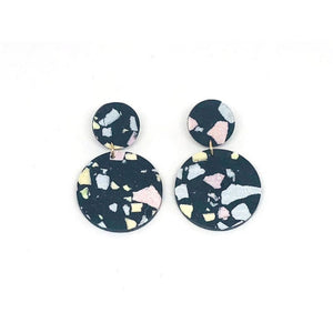 dconstruct Jesmonite Charcoal Concrete Circle Earrings CON-J-JES-ECIRS-C