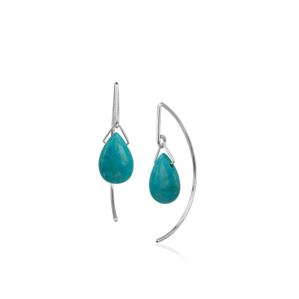 Pamela Lauz Lantern Turquoise Sterling Silver Earrings LAN-S004
