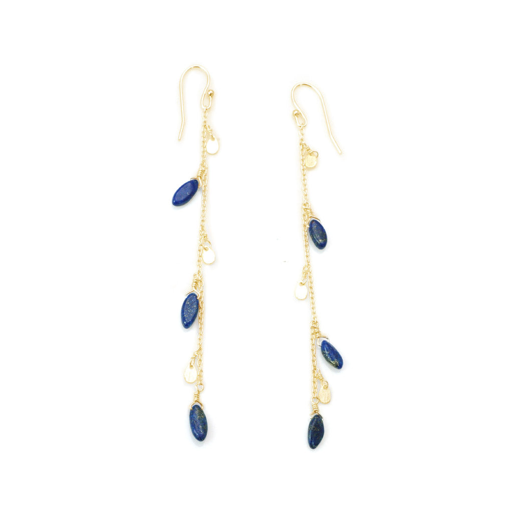 Philippa Roberts Lapis Marquis Chain Earrings 125-26ve