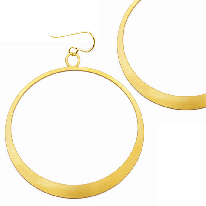 Daphne Olive Large Simple Gold Hoops FG240E