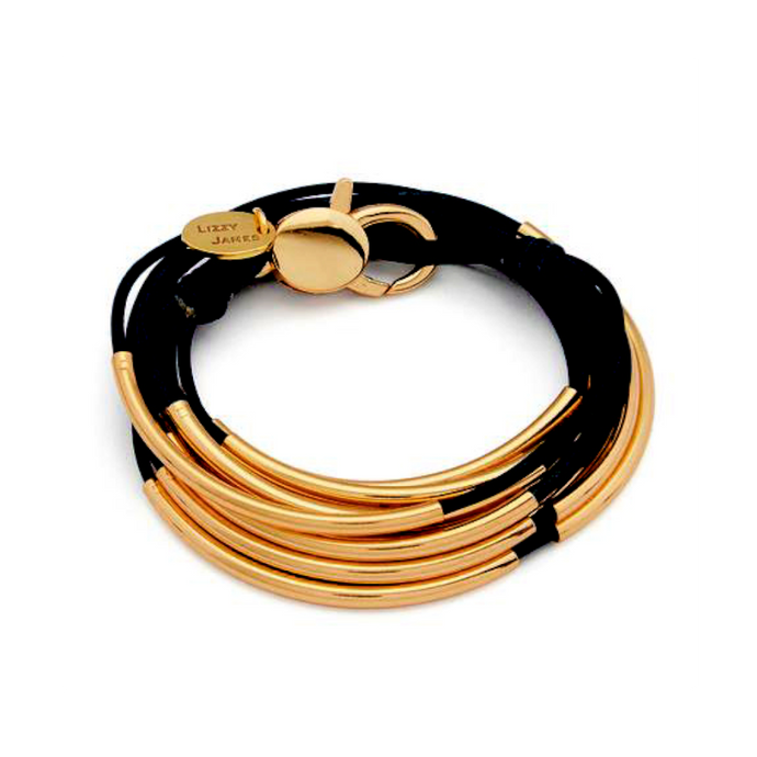 Lizzy James Lizzy Classic Gold Black Wrap Bracelet