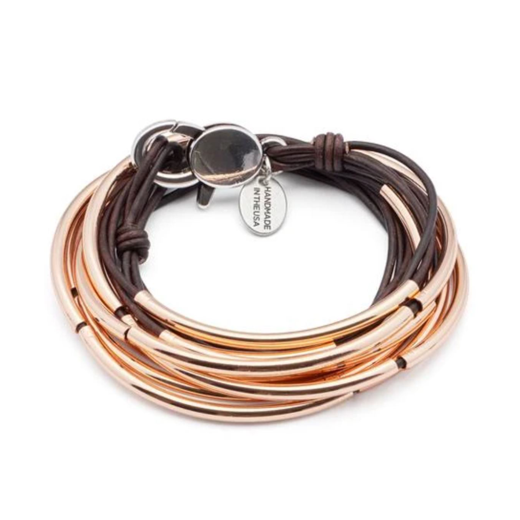 Lizzy James Lizzy Classic Rose Gold Brown Wrap Bracelet