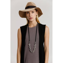 Two A Long Metal Links Necklace N377-01-MATSIL/BLK