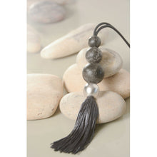 Two A Long Resin Stones Tassel Necklace N405-01 DUST