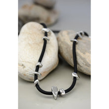 Two A Long Rubber Stone Necklace N386-02-SIL/BLK