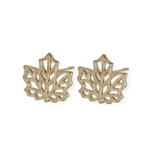 jj+rr Maple Leaf Origami Studs Gold 7E9-G