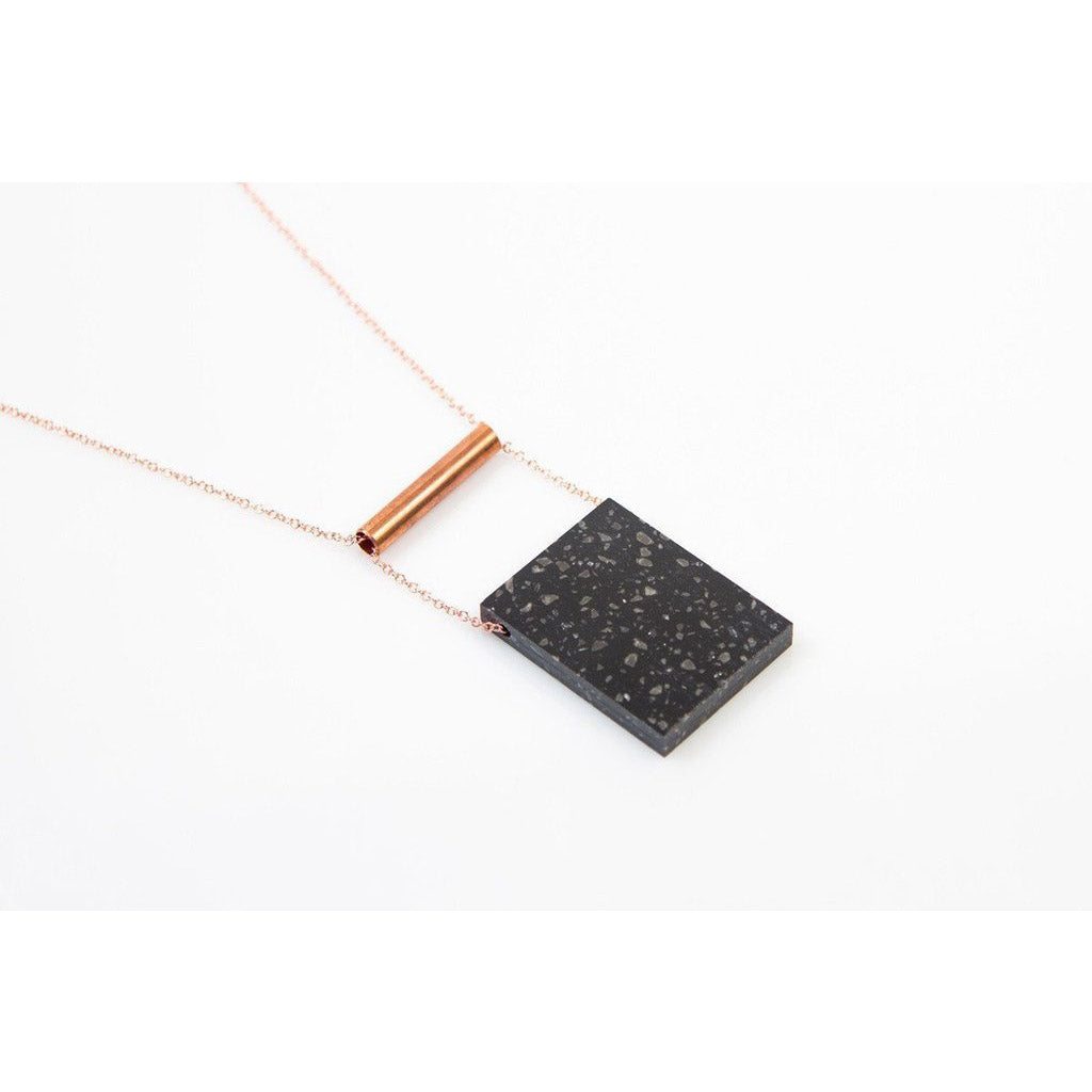 dconstruct Midnight Corian Rectangle Necklace COR-N-REC-MT