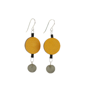 Alicia Niles Morse Code Yellow/Grey Dot Earrings MRS120YLGR