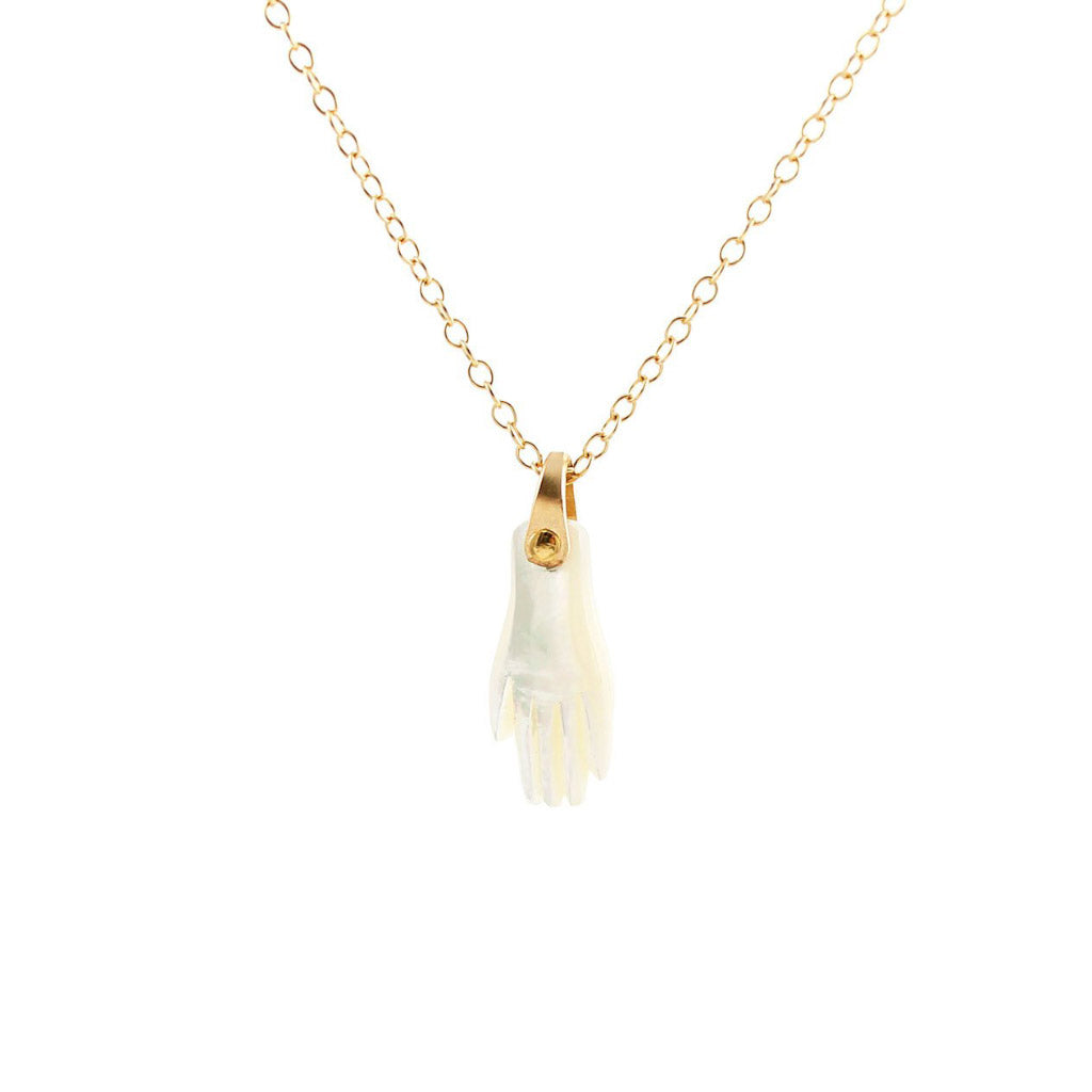 Kris Nations Mother of Pearl Hand Necklace Gold N661-G