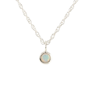 Kris Nations Opal Charm Necklace Silver N778-S-OPAL