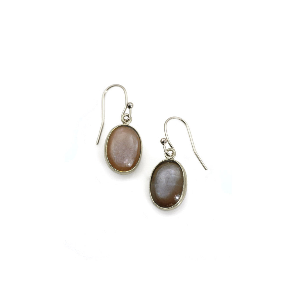 Philippa Roberts Oval Chocolate Moonstone Earrings 116-18se