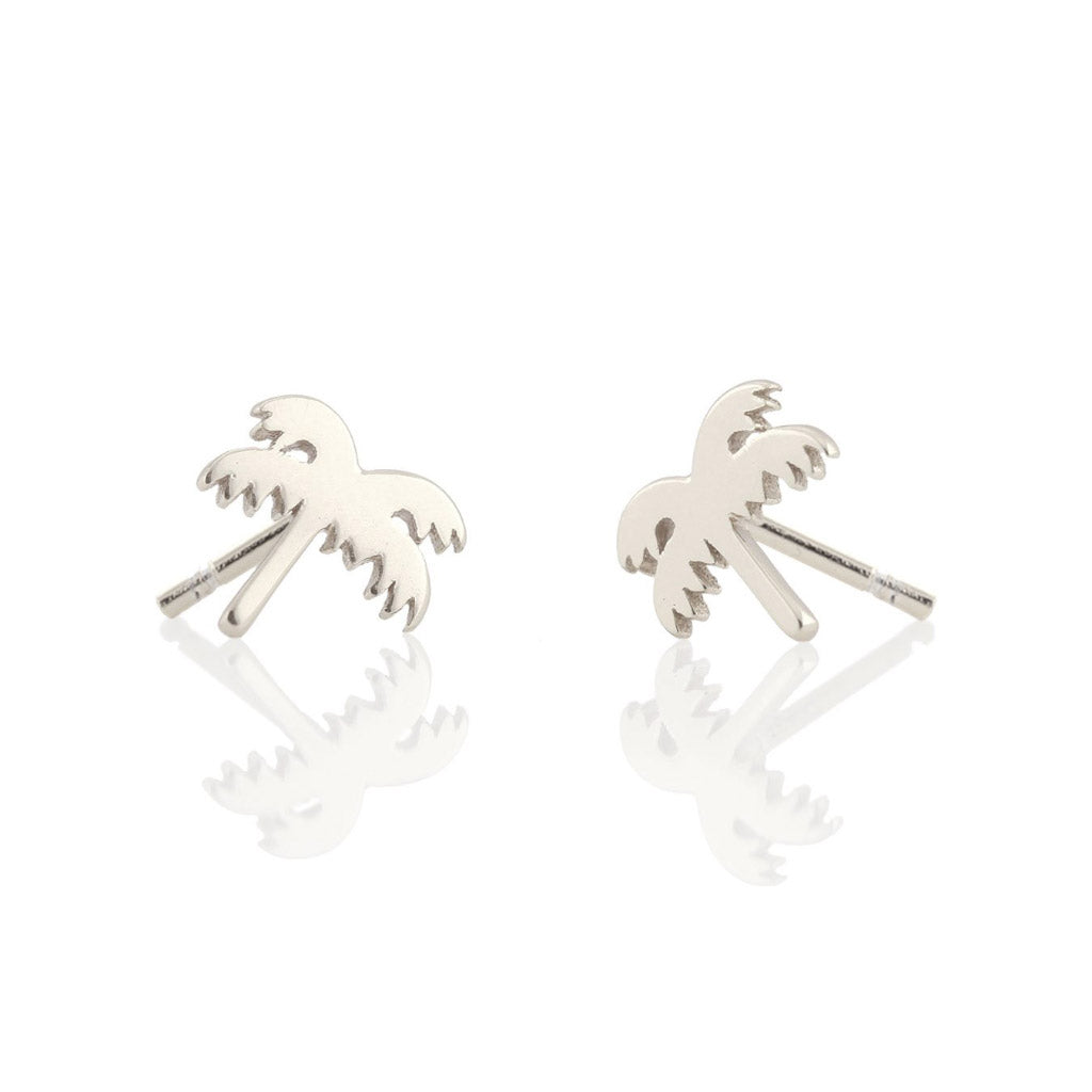 Kris Nations Palm Tree Studs Silver E-EMJ-PALM-S