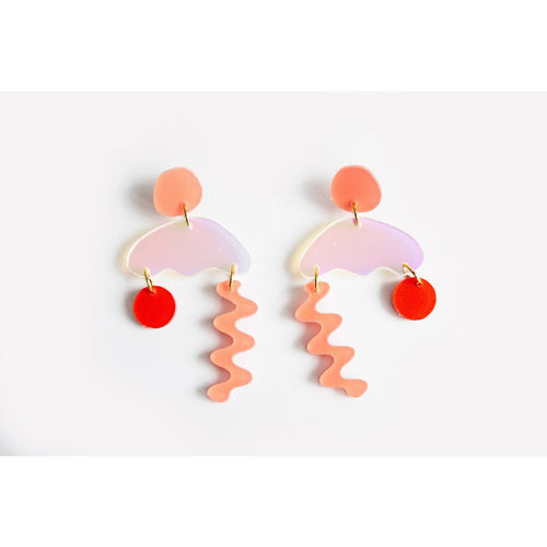 dconstruct Peach Punch Solar Squiggle Storm Earrings PEA-PU-SO-ESQSTO