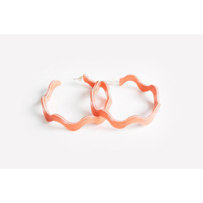 dconstruct Peach Squiggle Large Hoops PEA-EBH-SQ