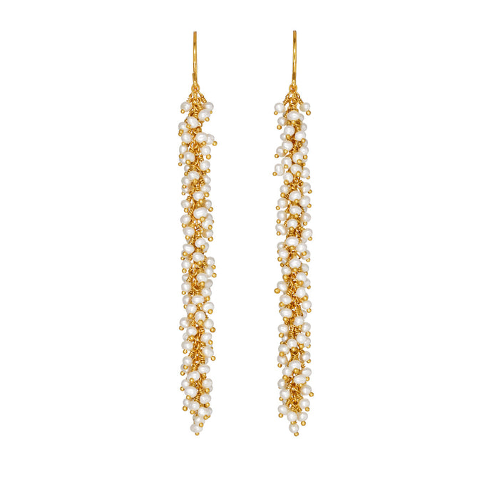 Kate Wood Pearl & Gold Vermeil Catkin Earrings  EUR CA-E01-PVY