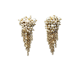 Kate Wood Pearl & Gold Vermeil Tassel Earrings EUR MC-E05-PVY