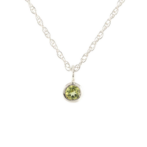Kris Nations Peridot Charm Necklace Silver N778-S-PER