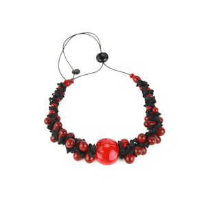 Alicia Niles Ribbon Red/Black Necklace RB056RDBK
