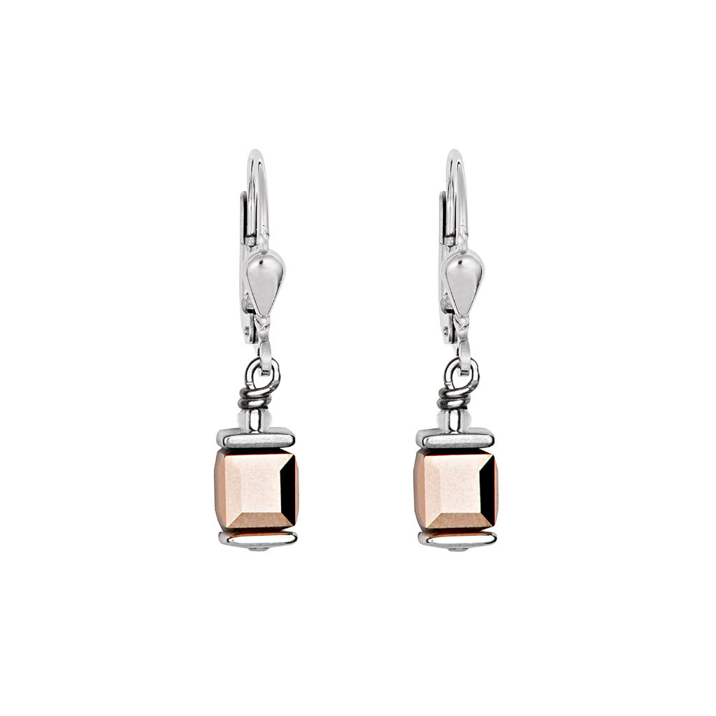 COEUR DE LION Rose Gold GeoCUBE Drop Earrings 0094/20-1620