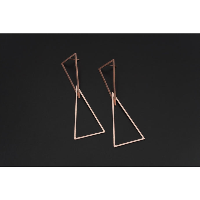 Deco Echo Rose Gold Double Triangle Earrings 561515