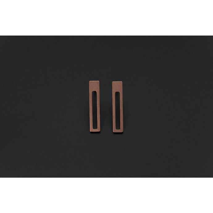 Deco Echo Rose Gold Small Rectangle Earrings 561516