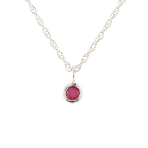Kris Nations Ruby Charm Necklace Silver N778-S-RUBY