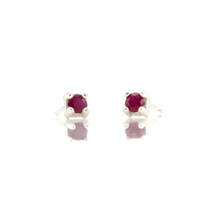 Kris Nations Ruby Prong Set Studs Silver E669-S-RUBY