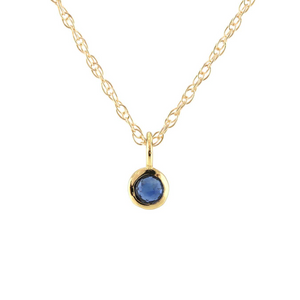 Kris Nations Sapphire Charm Necklace Gold N778-G-SAP